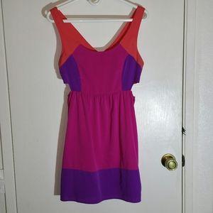 Neon Roxy colourblock cutout sleeveless mini dress